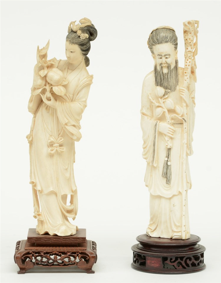 Two Chinese Canton-ivory early Republic sculptures, one depicting a beauty