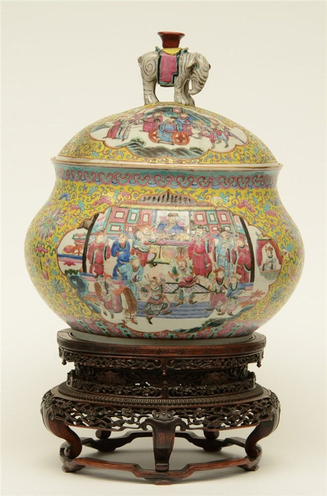 A Chinese yellow ground famille rose pot decorated with court scenes and wa