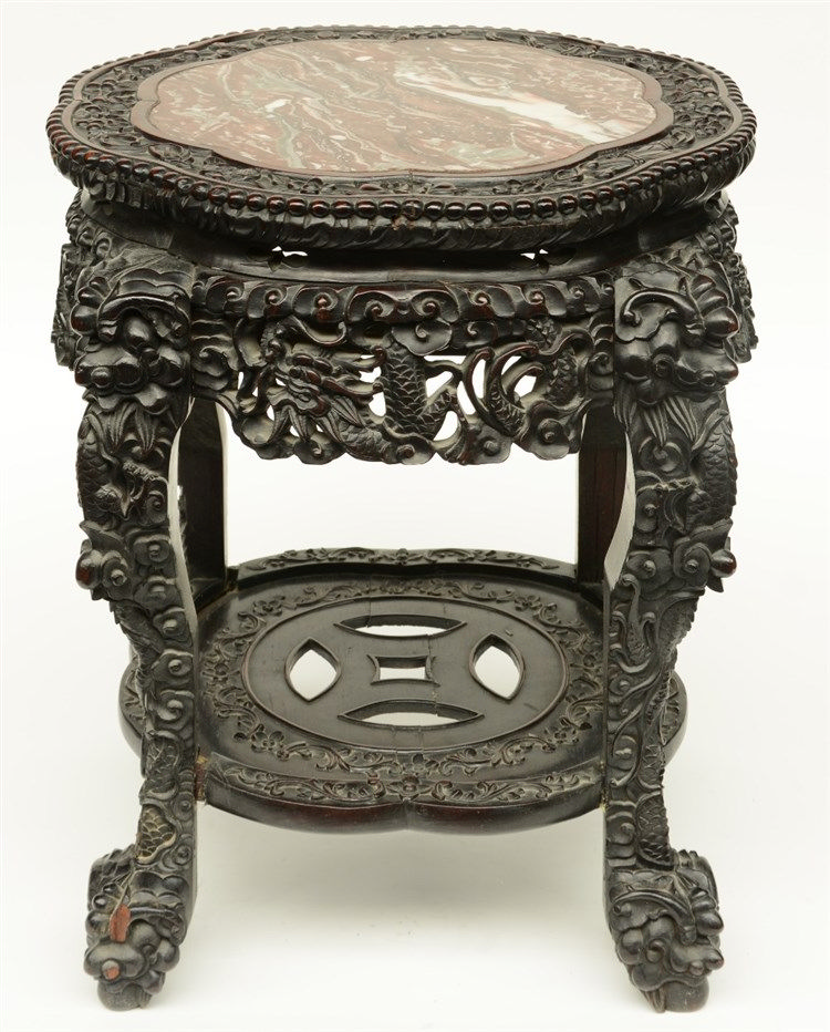 A Chinese carved hardwood stool with marble top, H 53,5 - Diameter 52,5 cm