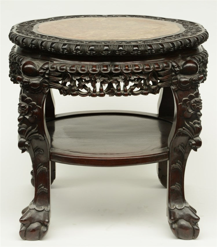 A Chinese carved hardwood stool with marble top, H 54 - Diameter 67,5 cm (s