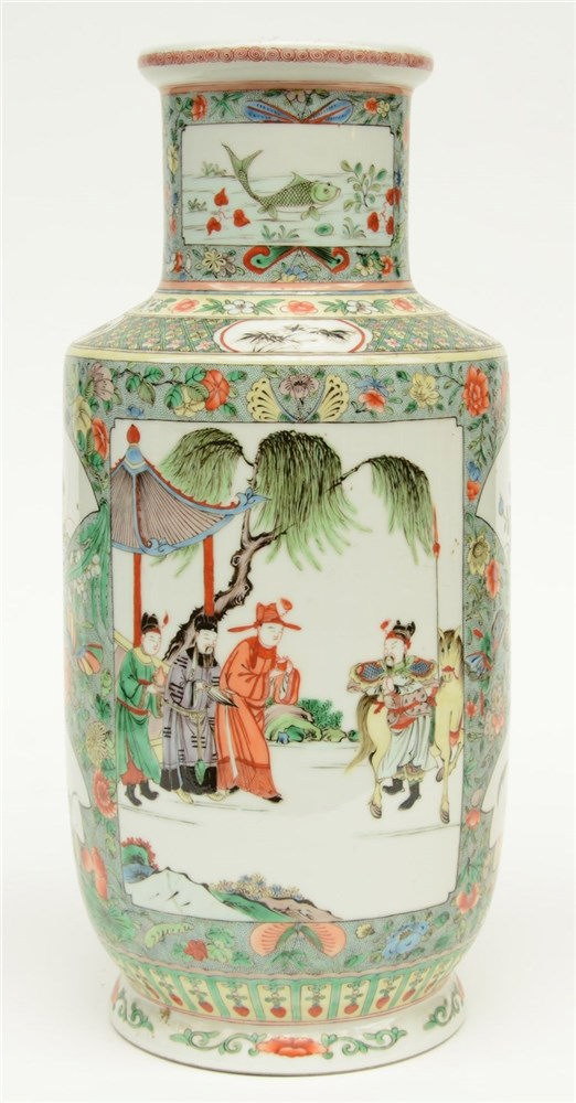 A Chinese famille verte rouleau shaped vase decorated with animated scenes,