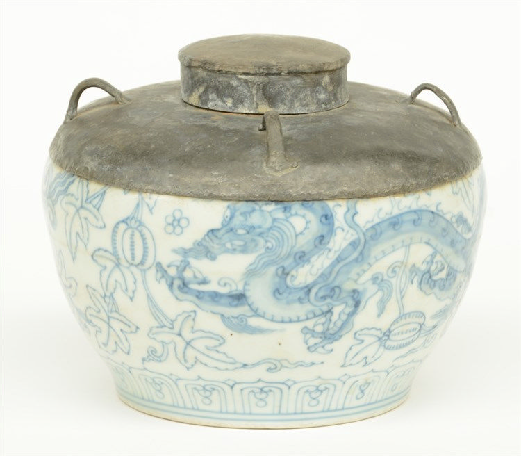 A rare Chinese blue and white dragon bowl with a lead cover, marked, H 14,5