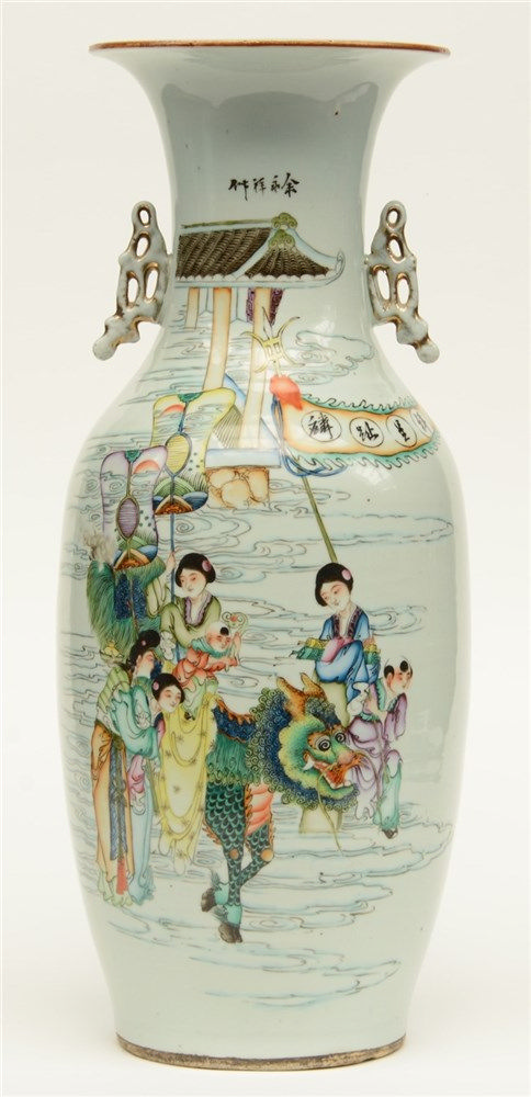A Chinese polychrome vase, decorated with an animated scene, signed, 19thC,