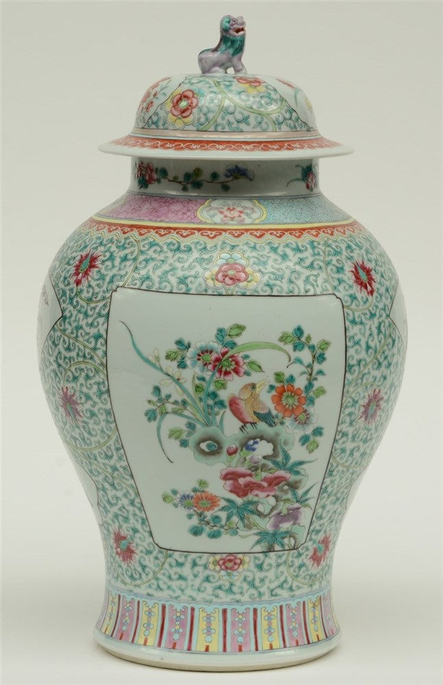 A Chinese famille rose vase, decorated with birds on flower branches, marke