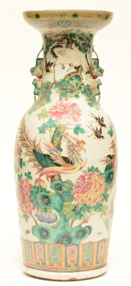A Chinese famille rose vase, overall decorated with phoenixes and birds on