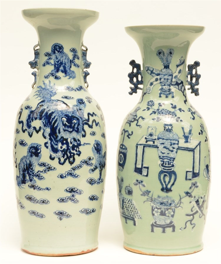 Two Chinese celadon-ground vases, blue and white decorated, one with antiqu