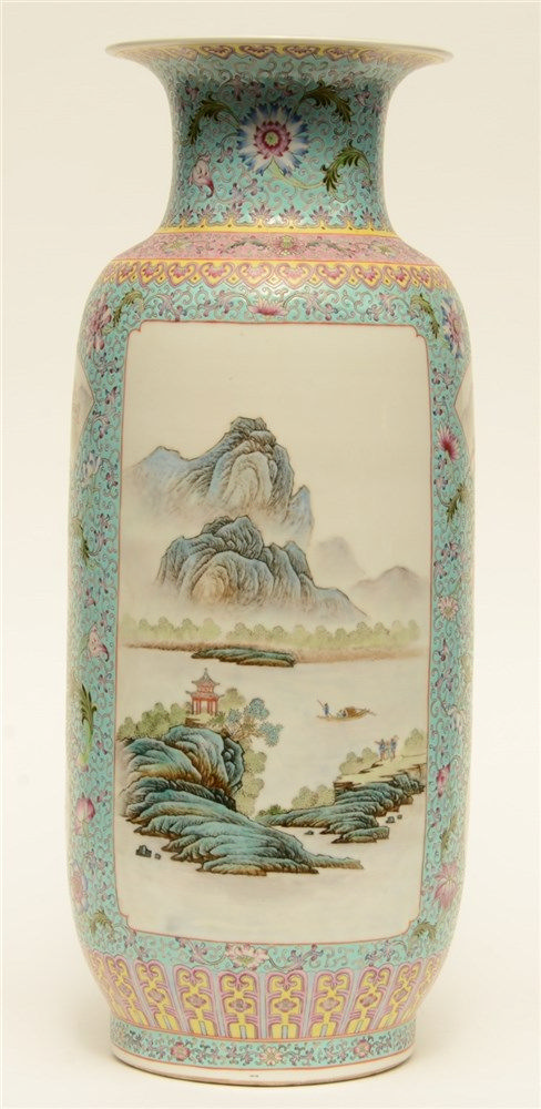 A Chinese famille rose and polychrome decorated vase, painted with landscap
