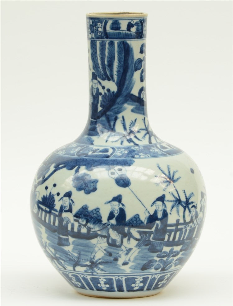 A Chinese blue and white bottle vase, painted with animated scenes, 19thC,