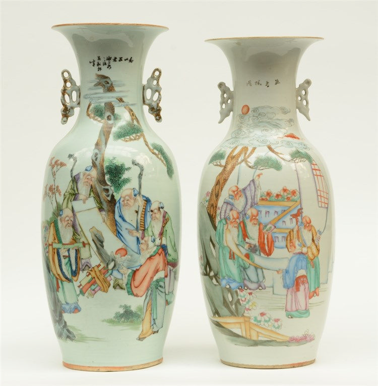 Two Chinese polychrome decorated vases depicting sages, H 55,5 - 58,5 cm (o