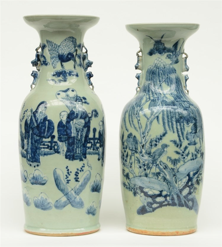 Two Chinese celadon-ground blue and white vase, one vase decorated with bir