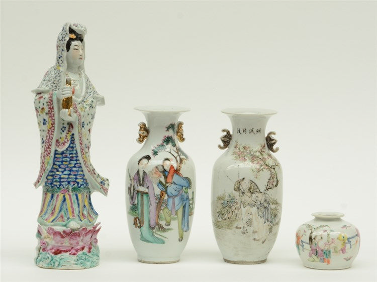 Three Chinese famille rose vases, decorated with figures, 19thC and later;