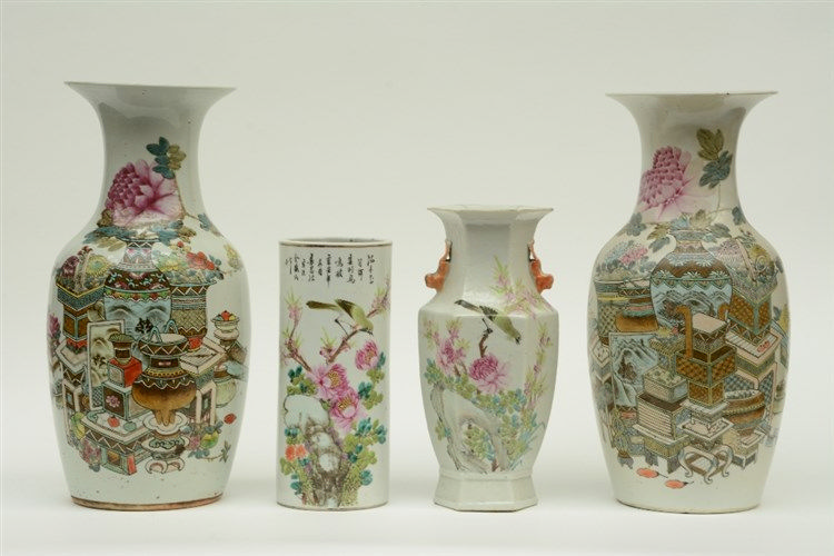 Four Chinese famille rose vases, two decorated with antiquities, two decora