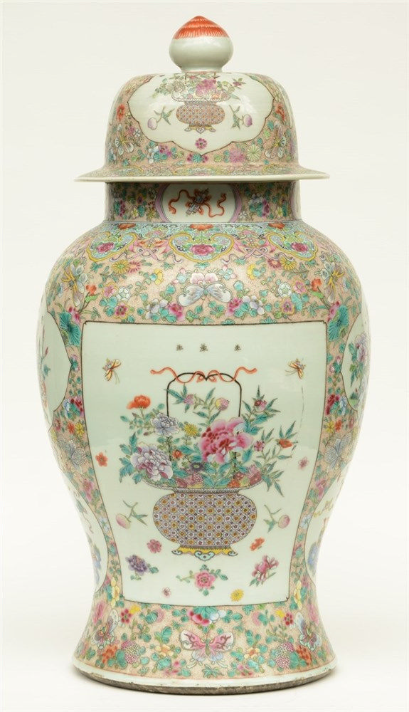An impressive Chinese famille rose vase with cover, the roundels decorated