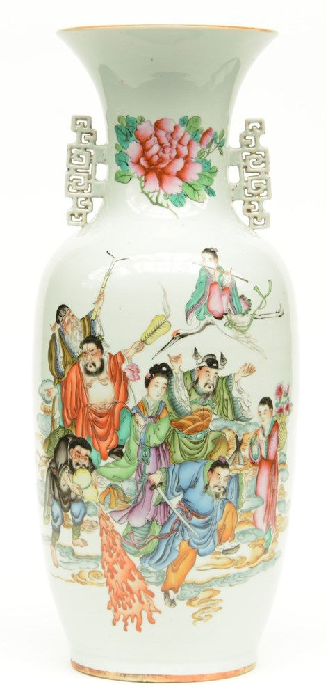 A Chinese polychrome decorated vase depicting the Eight Immortals, H 57 cm