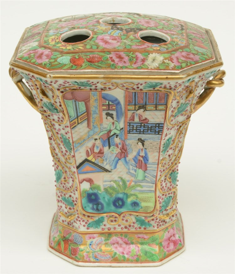 A Chinese Canton pique-fleur, famille rose, relief moulded, painted with co