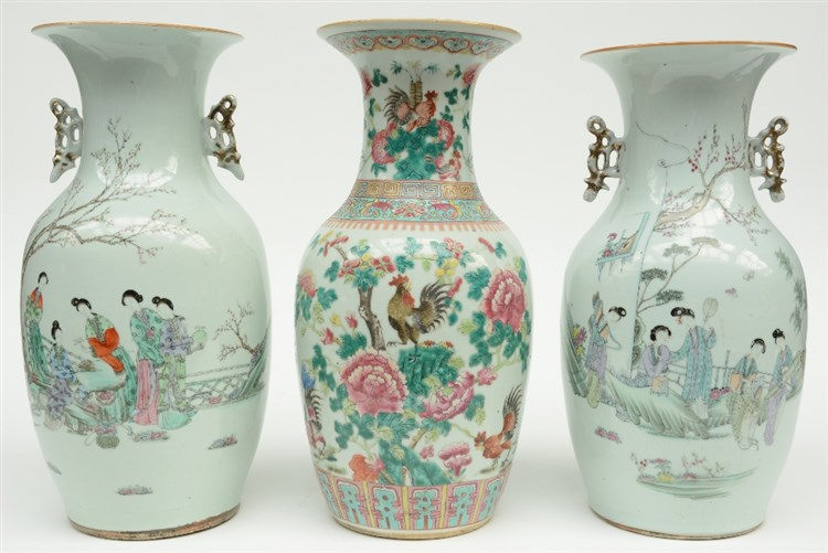 A Chinese famille rose vase decorated with cockerels, 19thC; added two ditt