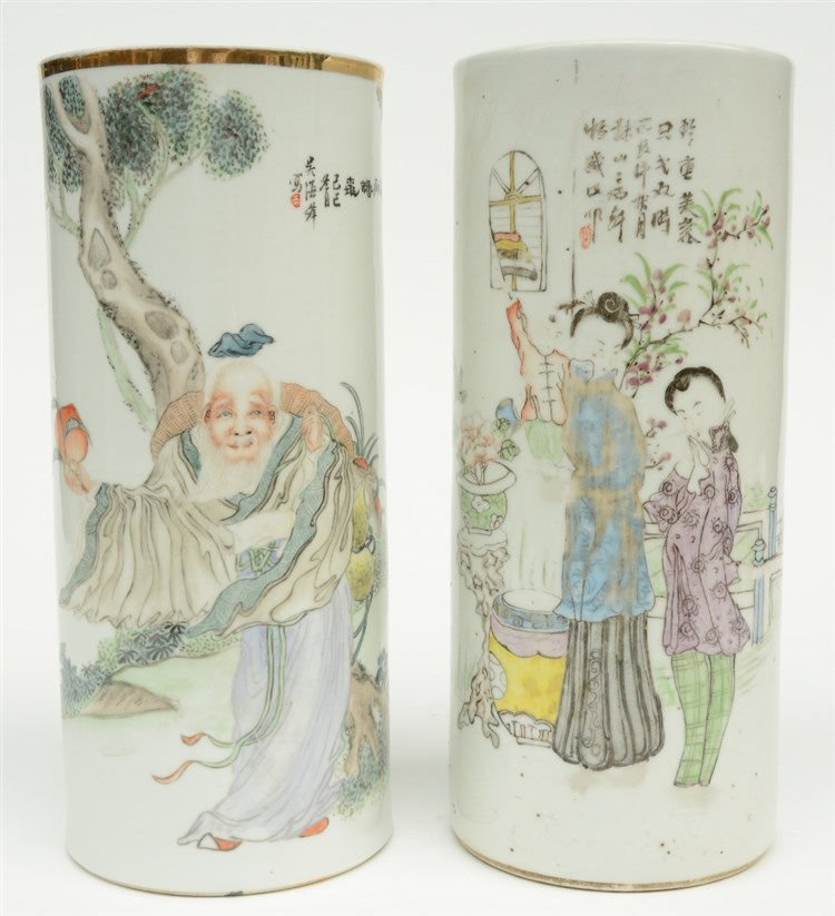 Two Chinese vases, polychroom decorated, one with the figure of Shou Xing a