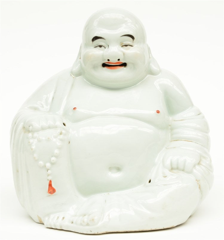 A Chinese laughing Budai, polychrome decorated, marked, H 24,5 cm
