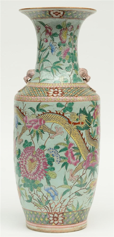 A Chinese turquoise ground, famille rose vase decorated with dragons and fl