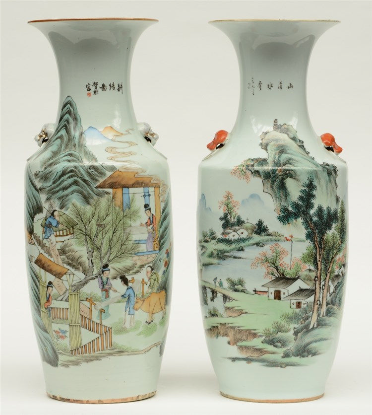 Two Chinese polychrome decorated vases, one with an animated scene and one