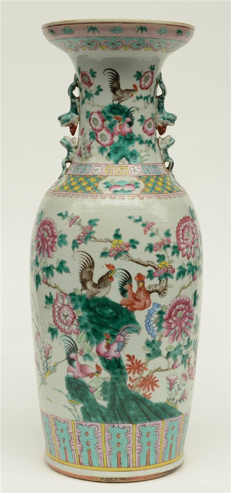 A Chinese famille rose vase, overall decorated with cockerels, 19thC, H 61,
