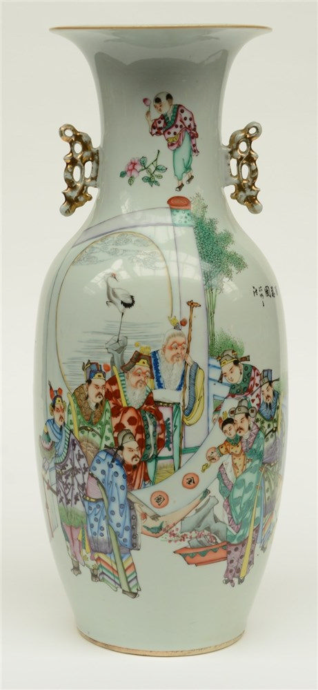 A Chinese polychrome decorated vase, painted on one side with the Eight Imm