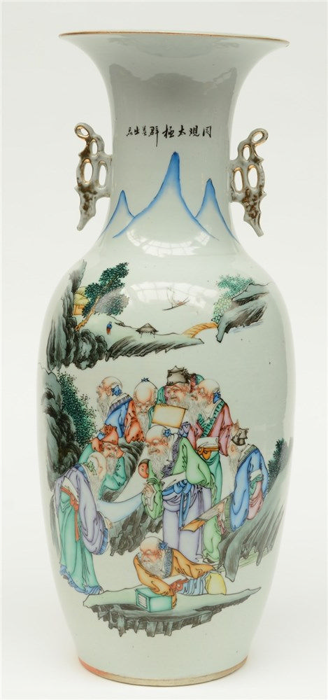 A Chinese polychrome decorated vase depicting scolars in a river landscape,