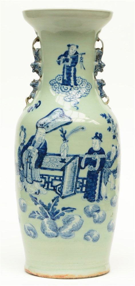 A Chinese celadon ground vase, blue and white decorated with an animated sc
