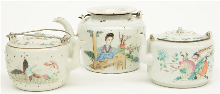 Three Chinese teapots, polychrome and famille rose decorated, marked, ca. 1