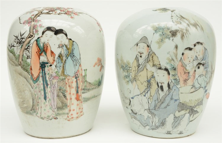 Two Chinese ginger jars, polychrome decorated with figures in a landscape,