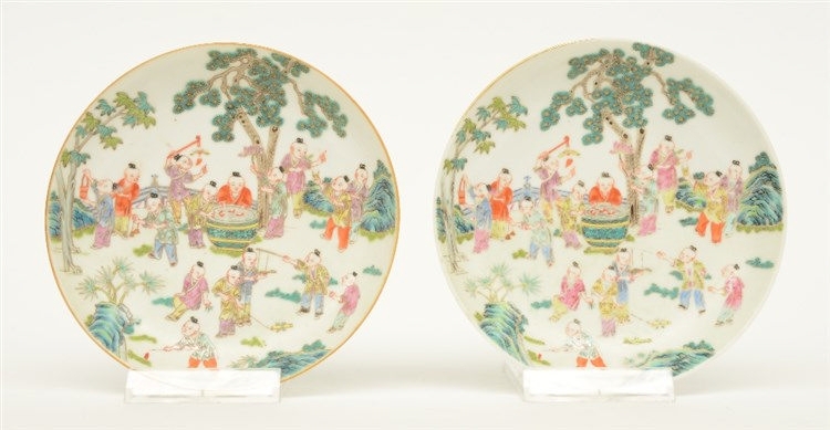 A pair of Chinese small famille rose dishes, marked Sheng de Tang Zhi, 19th