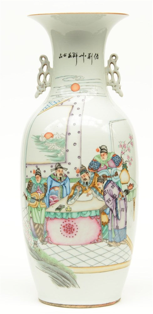 A Chinese polychrome decorated vase with an animated scene, H 57,5 cm