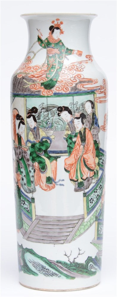 A Chinese cylindrical famille verte vase, decorated with a genre scene, 19t