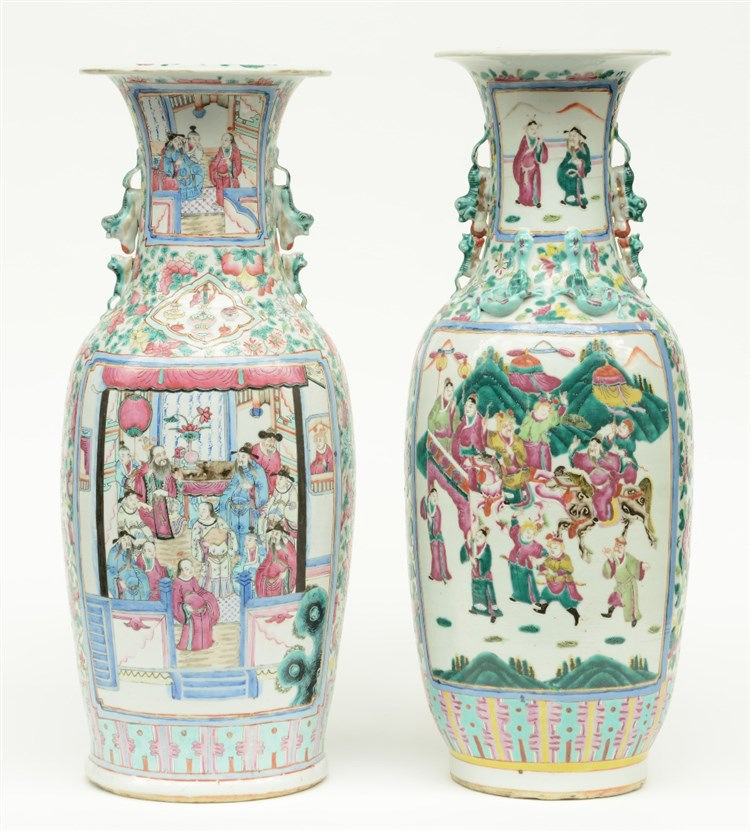 Two Chinese famille rose vases, decorated with animated scenes, 19thC, H 59