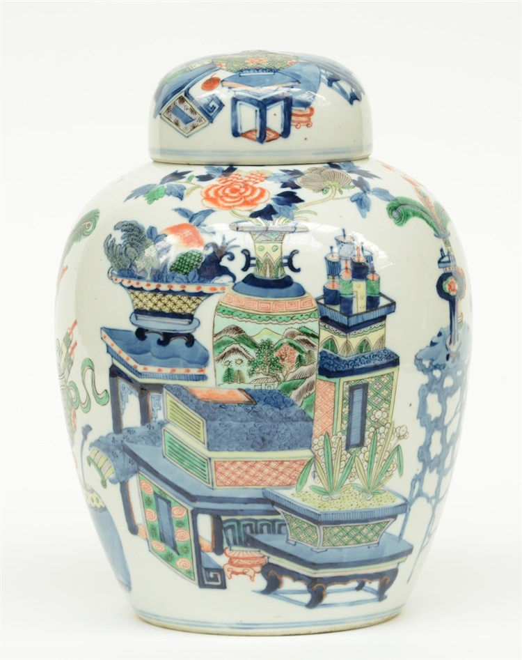 A Chinese polychrome ginger jar, decorated with flowers and antiquities, ma