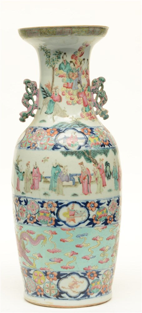 A Chinese polychrome vase, decorated with several animated scenes, dragons