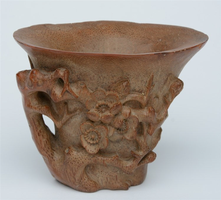A Chinese 'bamboo' wooden carved libation cup, H 11 cm