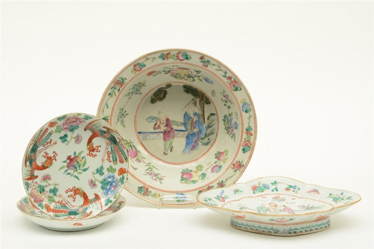 A Chinese bowl, plate and two dishes, famille rose and polychrome decorated