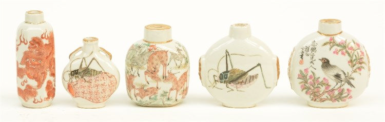 Five Chinese snuff bottles, polychroom decorated with animals,H 7 - 9 cm