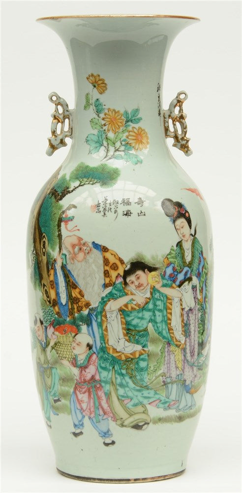 A Chinese polychrome decorated vase, painted on one side with an animated s