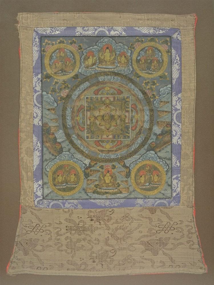 A Tibetan tanka, gouache on paper on textile, ca. 1900, 50 x 65 cm