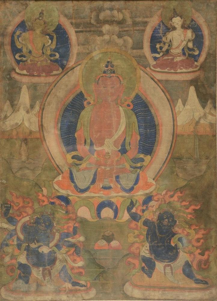 A Tibetan tanka, gouache on textile, 19thC,41,5 x 57 cm