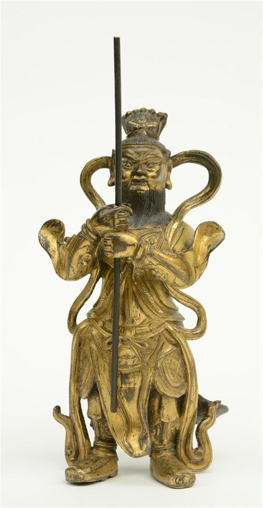 A Tibetan gilt bronze warrior, probably Ming, 17th / 18thC, H 22,5 cm (orig