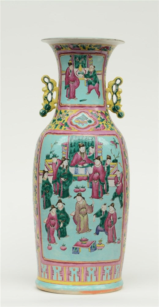 A Chinese turquoise ground polychrome vase, decorated with court scenes, H
