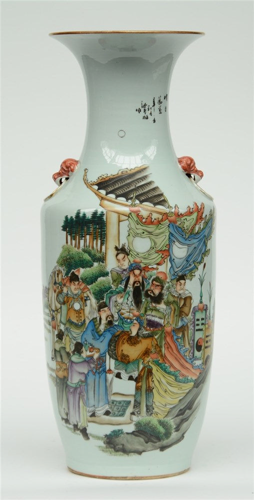 A Chinese polychrome vase decorated with an animated scene, H 58 cm