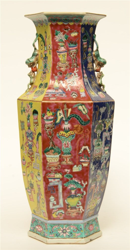 A Chinese polychrome ground famille rose hexagonal vase, decorated with ant
