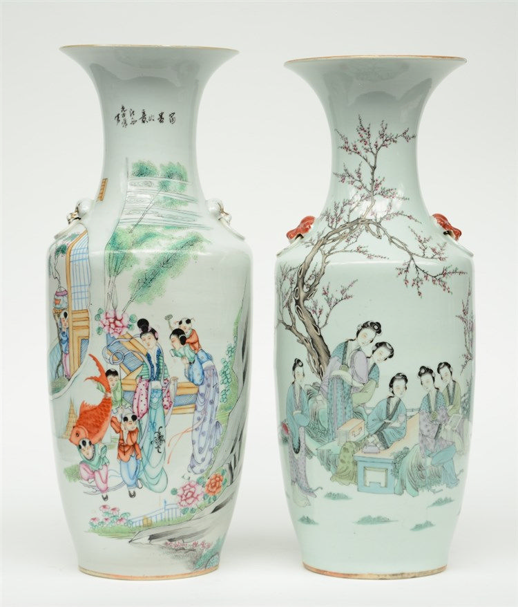 Two Chinese polychrome vases, decorated with figures in a garden, H 58 - 59