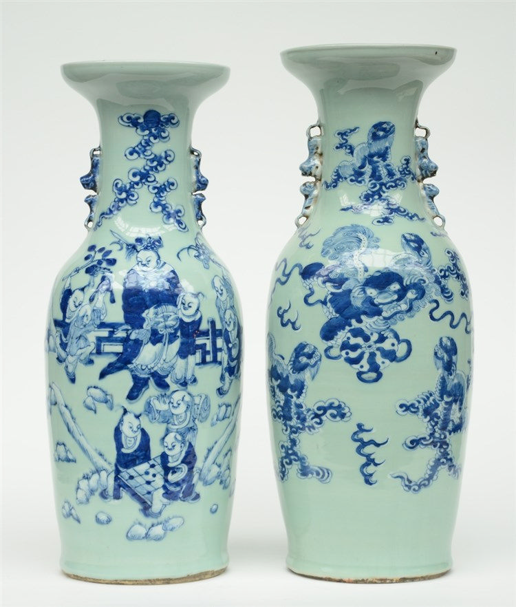 Two Chinese celadon ground blue and white vases, one decorated with childre