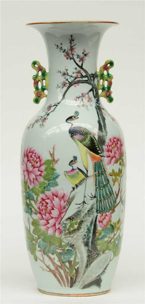 A Chinese famille rose vase decorated with birds on flower branches, H 60 c