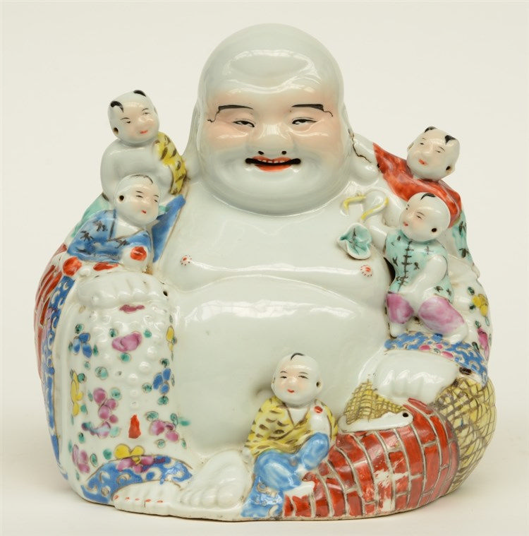 A Chinese laughing Budai with children, polychrome decorated, marked, H 25